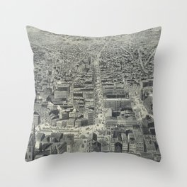 Vintage Pictorial Map of Providence RI (1895) Throw Pillow