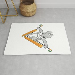 Rabbit as ski jumper with skis Rug