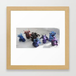 Bitty Bitey Dragons Framed Art Print