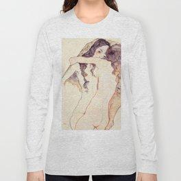 Egon Schiele Two Women Embracing Long Sleeve T-shirt