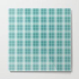 Color of The Day Lagoon Green Tartan Plaid Check Metal Print