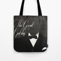 the great gatsby Tote Bags featuring The Great Gatsby 2 by Erica Chase