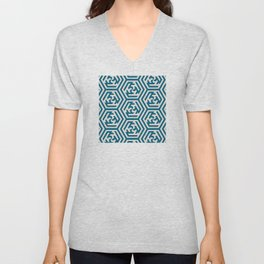 Moroccan Teal Ornate Geometric Pattern Unisex V-Neck