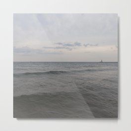 Distant Lighthouse on Lake Michigan Metal Print
