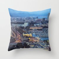 barcelona Throw Pillows featuring Barcelona by AnnaGo