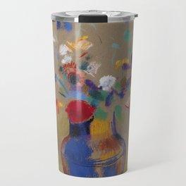 "Odilon Redon ""Flowers on a grey background (Fleurs sur fond gris)"" Travel Mug"