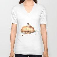 bunny V-neck T-shirts featuring Bunny by Ivanushka Tzepesh