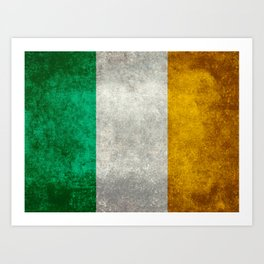 Flag of the Republic of Ireland, Vintage style Art Print