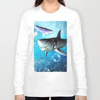 shark Long Sleeve T-shirts featuring Shark by nicky2342