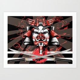 Samurai Flag Art Print