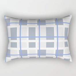Retro Abstract Plaid Blue and Gray Rectangular Pillow