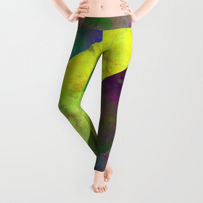 45 Degrees - Abstract, textured, diagonal stripes Leggings