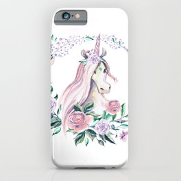 Pink roses and floral unicorn design iPhone Case