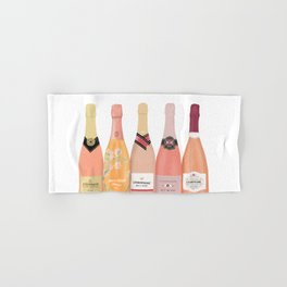 Rose Champagne Bottles Hand & Bath Towel