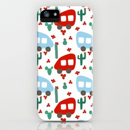 Camper Vans in Red and Blue with Green Cactus and Red Flowers iPhone Case