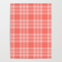 Living Coral Gingham Pattern Poster