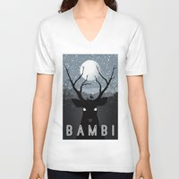 infamous V-neck T-shirts featuring Bambi by Rowan Stocks-Moore