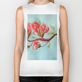 Vermilion Blossoms watercolor by CheyAnne Sexton Biker Tank