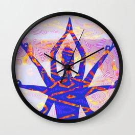 Kali Goddess Sunset Landscape with Tribal Glitch Pattern Wall Clock