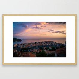 Dubrovnik Sunset in Croatia Framed Art Print