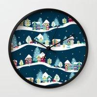 ski Wall Clocks featuring Apres Ski by Polkip