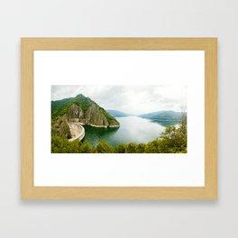 Vidraru Lake (Lacul Vidraru) and Dam in Carpathian Mountains, Fagaras ridge, Romania panorama. Framed Art Print