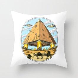 Egyptian Pyramids Alien Abduction UFO Throw Pillow