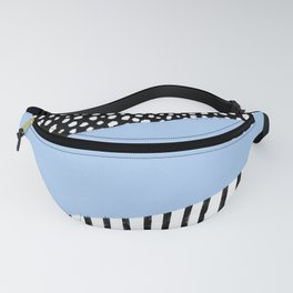 Polka Dots and Stripes Pattern (black/white/blue) Fanny Pack