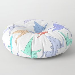 Japanese Origami paper cranes symbol of happiness, luck and longevity Floor Pillow