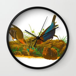 Cowbird Bird Illustration Wall Clock