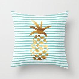 Pineapple & Stripes - Mint/White/Gold Throw Pillow