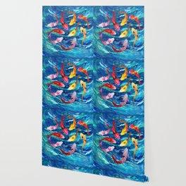 Koi fish rainbow abstract paintings Wallpaper
