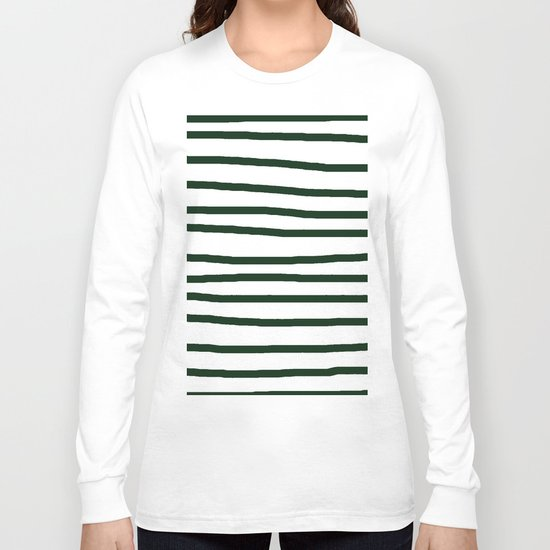 Simply Drawn Stripes in Pine Green Long Sleeve T-shirt