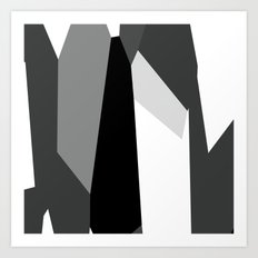 Black White and Gray Abstract Art Print