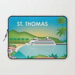 St. Thomas, U.S. Virgin Islands - Skyline Illustration by Loose Petals Laptop Sleeve