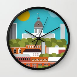 Columbia, South Carolina - Skyline Illustration by Loose Petals Wall Clock