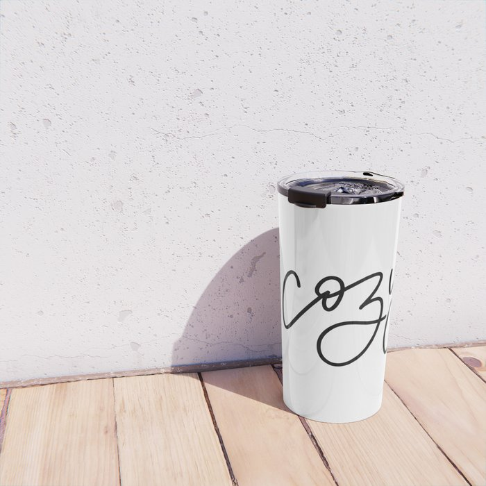 Cozy Up in Black and White Travel Mug