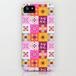 Maroccan tiles pattern with pink no4 iPhone Case