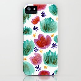 Teal and Pink Watercolor Pattern iPhone Case