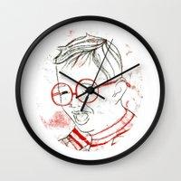 stripe Wall Clocks featuring stripe by Michela Buttignol