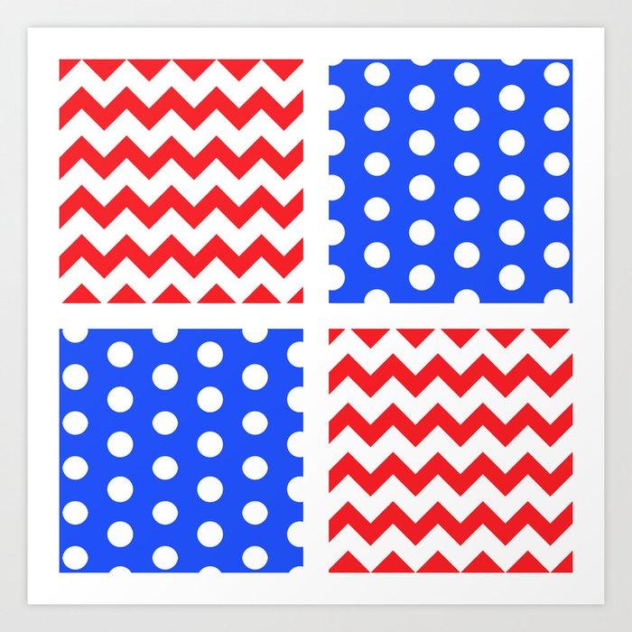 2a5b8a099ebc American Flag Chevron Polkadot Pattern  ArtofGaneneK  Red  White  Blue Art  Print