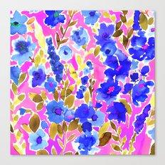 Isla Floral Pink Blue Canvas Print