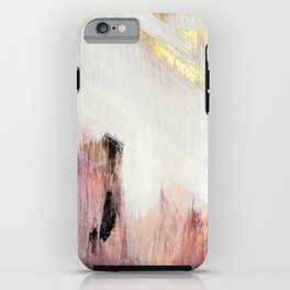 Sunrise [2]: a bright, colorful abstract piece in pink, gold, black,and white iPhone Case