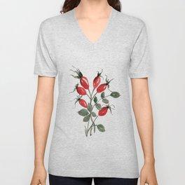 Watercolor Rosehips Unisex V-Neck