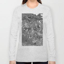 Gray Marble stone texture acrylic paint art Long Sleeve T-shirt