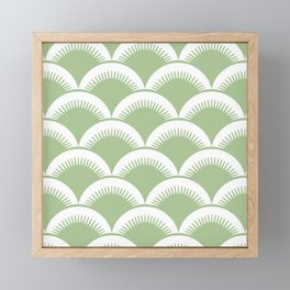 Japanese Fan Pattern Sage Green Framed Mini Art Print