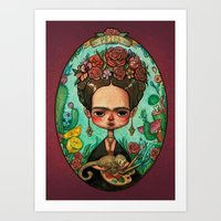 frida kahlo Art Prints featuring Frida Kahlo  by Marija Tiurina