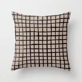 Strokes Grid - Black on Nude Throw Pillow