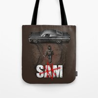 sam smith Tote Bags featuring Sam by Six Eyed Monster
