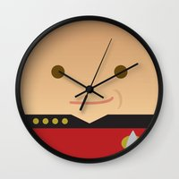 picard Wall Clocks featuring Captain Picard by Sam Del Valle